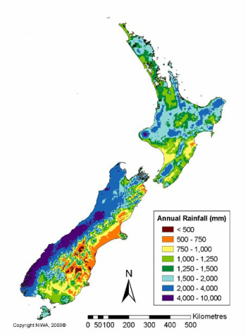 Mean annual Rainfall in New Zealand