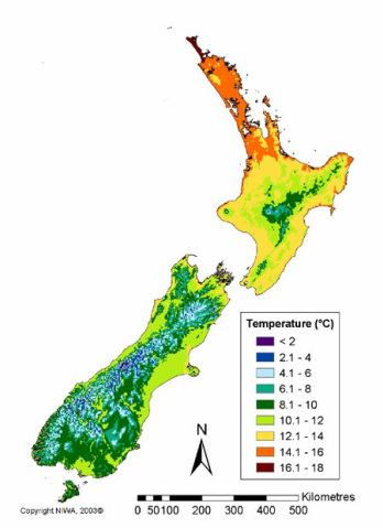 Mean Annual Temperature in New Zealand